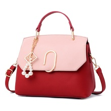 2017 Spring New Elegant Women Leather Bags Handbags Patchwork Burgundy Women's Tote Purse Ladies Messenger Bags