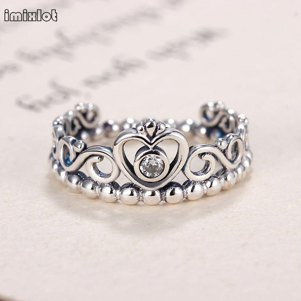 Imixlot Engagement Ring 925sterlingsilver Vintage Fine Jewelry Thai  Silver Crown Opening Rings For Women Hypoallergenic Anillo