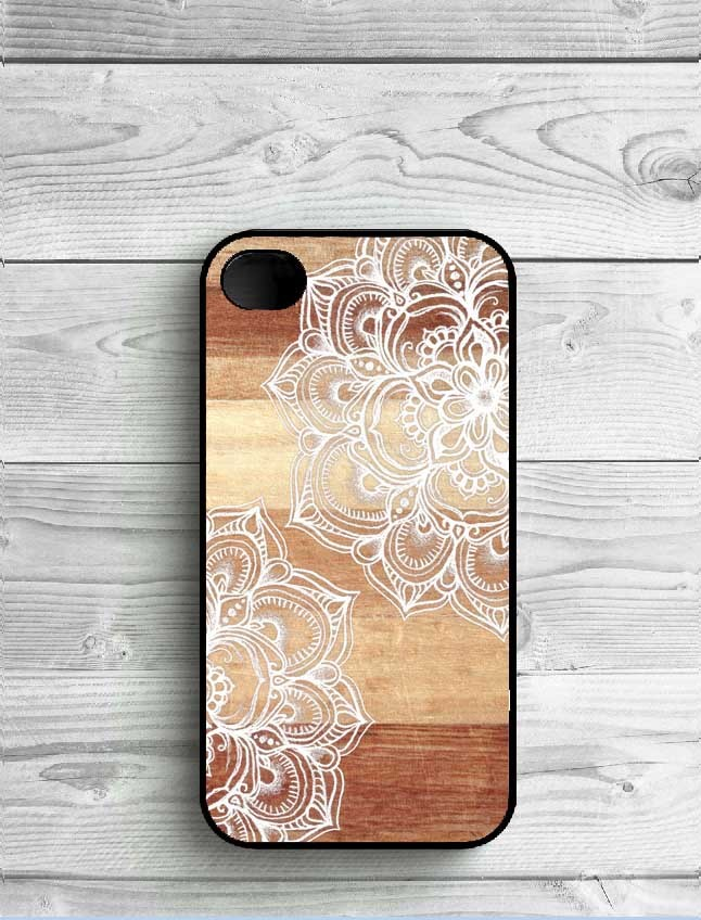 Wooden Style Mandala Plastic Phone Case For iPhone