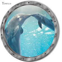 YunXi 2017 New 3D Cute Animal Dolphin Sticker Kids Room Bedroom Cabinet Bathroom Glass Background Decorative PVC Wall Stickers