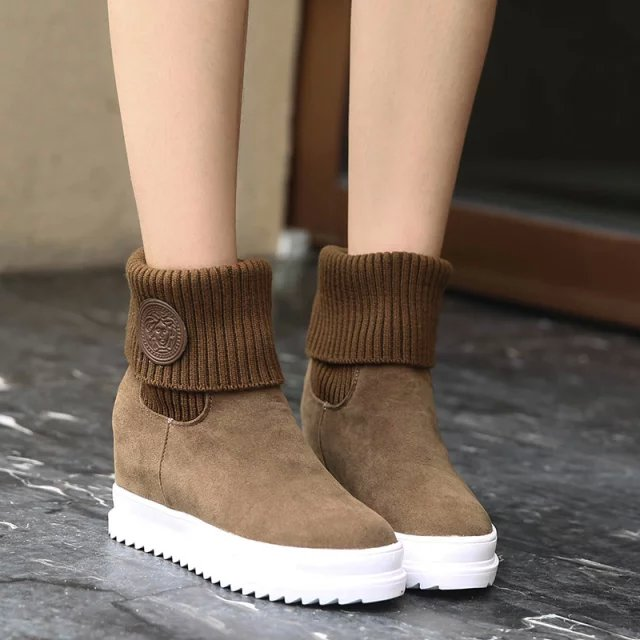 2017 Winte New Women Snow Boots Height Increasing Thick With Round Toe Ankle Boots Woolen Platform Shoes Red Black Brown ZK3.5<br><br>Aliexpress