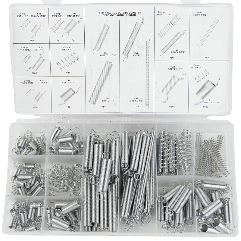 200PCS spring / extension spring / compression spring / set / 200 transparent pp plastic box 20 kinds of specifications a box<br>