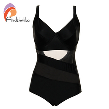Andzhelika black one piece swimsuit Swimwear Women Mesh Bodysuit Sexy Hollow Out Swim suits Large Cup Plus Size Bathing Suits