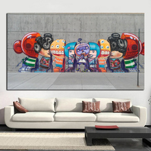 Graffiti Banksy Canvas Painting Street Pop Art Utopia Painting 3D Cartoon Figure HD Prints Wall Picture for Living Room Cuadros