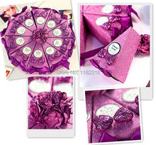 50 pcs Creative Luxury Romantic Purple Cake Candy Boxes with Bowknot Card Decoration Wedding Favor Gift Paper Box