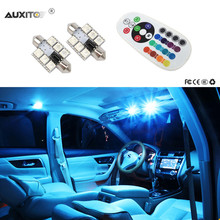 2x Festoon Car Interior Dome Lights 12V 5050 SMD LED Bulbs RGB Remote Controlled For Audi A4 B6 2002 2003 2004 2005(China)