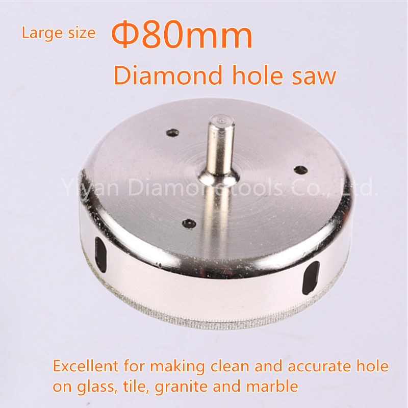 2pcs/lot 80mm Electroplated Diamond hole cutting use Hole Saw Drill Bit power tools Set For Tiles Marble Glass<br>