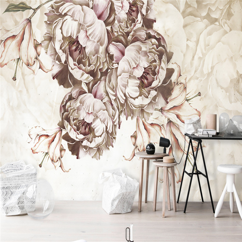 Custom 3D Murals Wallpapers Europe Florals Photo Wallpapers Vintage Flowers Wall Murals for Living Room Hand-Painted Wall Papers<br>