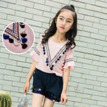 Girls Blouse Shorts Spring Set 2017 New Korean Children Retro Tassel Sequins Tops Two Sets of 5 6 7 8 9 10 11 Year Old(China)