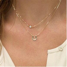 Hot Sweet Fashion Jewelry Choker Necklace Double Chain Gold Necklace Statement Necklace For Women Multilayer Crystal Necklace