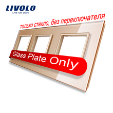 Free Shipping, Livolo Luxury Golden Pearl Crystal Glass, EU standard, Triple Glass Panel For Wall Touch Switch,VL-C7-SR/SR/SR-13(China)