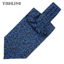 LJ09-02 Mens Vintage Black Blue Striped Wedding Ties Formal Cravat Ascot Scrunch Self British style Gentleman Neck Tie Luxury(China)