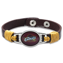 6pcs/lot!Cleveland Basketball Genuine Leather Adjustable Bracelet Wristband Cuff 12mm Burgundy Leather Snap Button Charm Jewelry