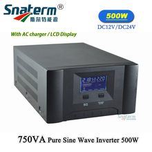 750VA/500W 12/24VDC to 220/110VAC,50HZ/60HZ Solar UPS Grid off Inverter Pure sine Wave low Frequency Converter with AC charger(China)