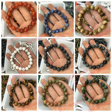 10MM Natural Stone Indian Agat lava picture tiger eye snowflake Labradorite Amazonite Round Beads Stretch Bracelet 19cm 1Pcs(China)