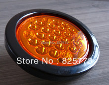 "12V 2PCS 4"" Round AMBER LED truck trailer 24 Diodes GROMMET Back Up Tail LED Stop turn lamp Light Kit DOT Solar(China)"