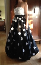 Strapless White Floral Applique Black Pageant Prom Dresses Special Occasion Gowns Custom Made Color / Size(China)