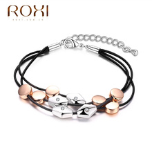 ROXI Bracelet Fashion Charms Chain Black Faux Leather Bracelets rhombic oval beads shape love simple pulseiras Women Jewelry