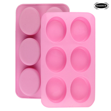BAKHUK 1pc Handmade Silicone Mold for Cake Soap Chocolate Making, 6-holes Pink Soap Mold