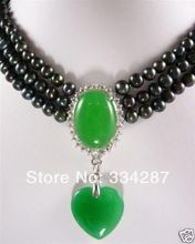 3 rows 7-8mm black pearl necklace green jades pendant
