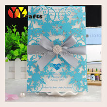 Happy birthday invitation cards,snowflake vintage wedding invitation cards ribbon and buckle as option