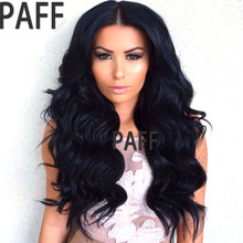PAFF150% density body wave human hair Lace front wig glueless Malaysian middle part wig natural hairline baby hair non remy(China)