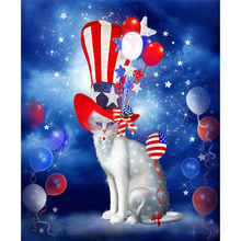 New colorful 3d diamond painting cross stitch full diamond embroidery europe home decoration square drill Cat & balloon A5215R