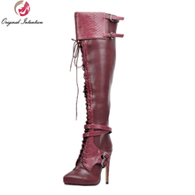 Original Intention Stylish Women Knee High Boots Nice Pointed Toe Thin Heels Boots Cool Wine Red Shoes Woman US Size 4-15(China)