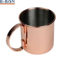 16oz Copper Plated Stainless Steel 18/8 Moscow Mule Copper Mug with Handle Durable Beer Mug Rose gold Drinkware