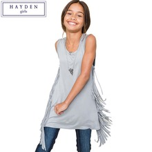 HAYDEN Kids Girls Tank Tops Teen Kids Solid Color Sleeveless Long Tassel Tee Top Teenagers Fashion Summer Clothes Size 7-14Y(China)
