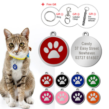 Personalized Engraved Round Paw Pet ID Tags  8 Colors For Dog & Cat ID Tag