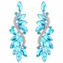 Bella Fashion 6 Colors Sparkling Flower Romantic Bridal Earrings Austrian Crystal Rhinestone Clip on Earrings For Party Jewelry