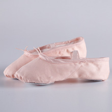 2018 Canvas ballet flats Soft Balleria Dance Shoe For Women Split Cow Leather Outsoles Gym Yoga Dance sport Shoes Girls Toe(China)
