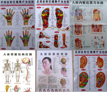 free shipping 10 pcs Scrapping healthcare human acupuncture wall chart diagram foot hand head ear acupuncture meridian chart(China)