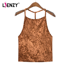 LIENZY Summer Sexy Women Velvet Top Cami Yellow Black Blue Brown Female Crop Tops Cropped Feminino(China)