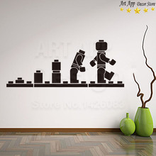 Good quality new Art Design Lego blocks home decor Vinyl Wall decals removable cartoon robot toy cheap room sticker