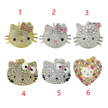 USB Flash Drive Metal Hello Kitty PenDrive 4GB 8GB 16GB 32GB Flash Drive Kitty Cat USB Stick Diamond U Disk Cute Cartoon
