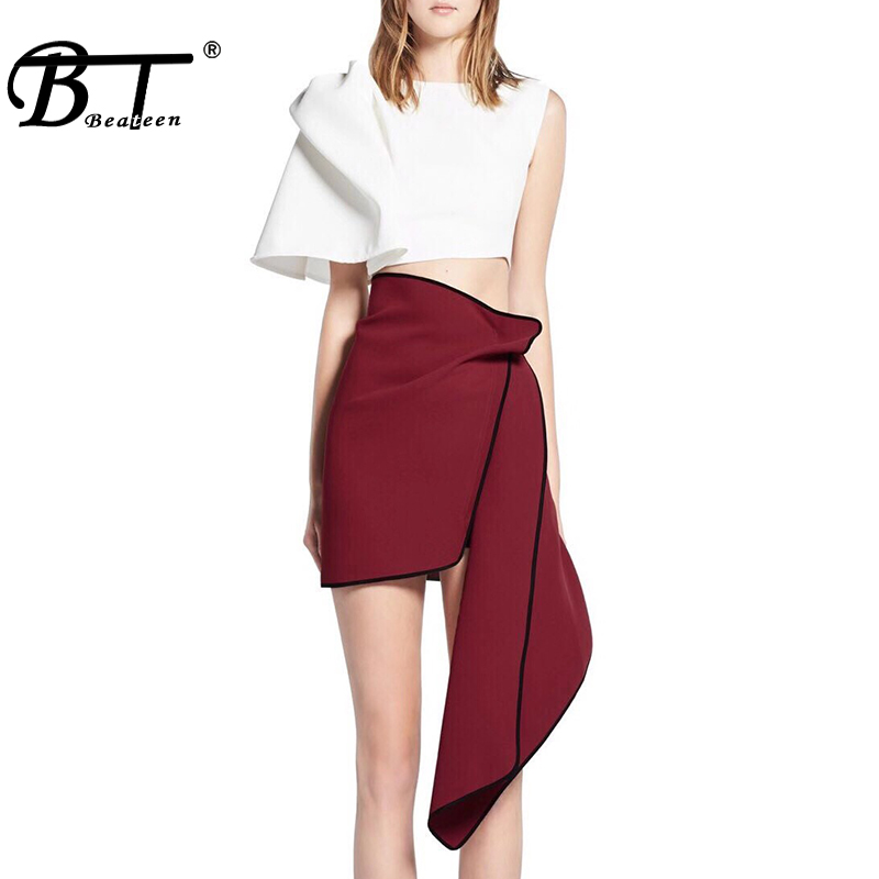 Beateen 2019 New Two-piece Set White Cropped Bow Tie Detailing Top for Girls Ruched Asymmetrical Mini Skirt Stylish Women Sets