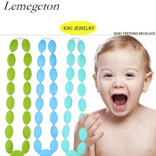 Lemegeton Hot Selling Safe,Non-Toxic Food Grade Silicone Beaded Baby Teething Necklaces Chewing 100% BPA Free Cleaned Beads(China)