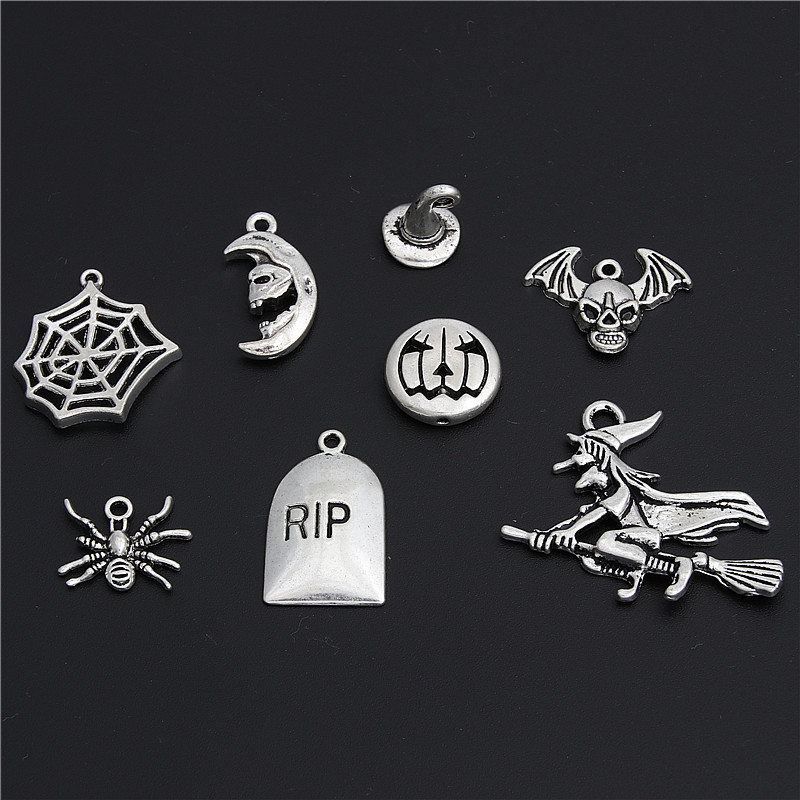 10//20//30 Pcs Antique Silver Broomstick Charms Witch Pendant Halloween Jewelry