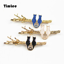Timlee H020 Sweet lovely Barrette The Branches Hairpin Cat Hair Clip Enamel Alloy Hair Accessary Gift
