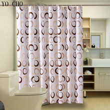 Popular Bathroom Curtains Coffee Big Circle Sea Life Waterproof Shower Curtain Fabric Polyester Bath curtains with hooks(China)