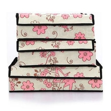 3PCS Durable Home Used Underwear Bras Socks Storage Boxes Bag Pink Flowers(China)