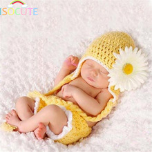 ISOCUTE Yellow Chrysanthemum Newborn Photography Accessories Lovely Infant Girls Beanie Shorts set Daisy Baby Girl Photo Props
