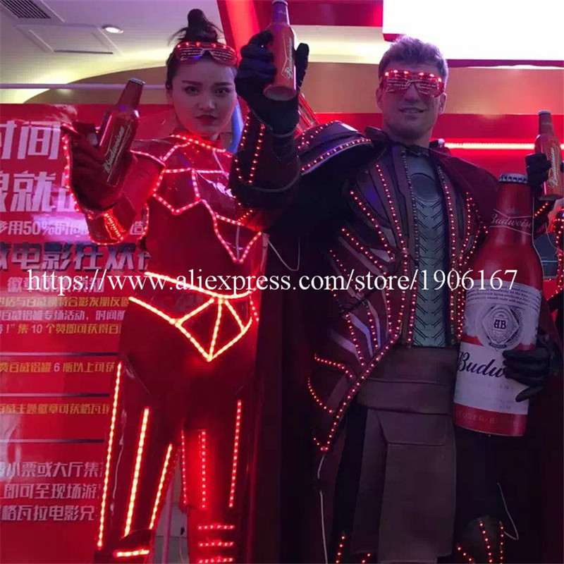 Fashion Show Led Female Performance Ballroom Costumes Clothes Sexy Lady Robot Suit  Party  Luminous Dress