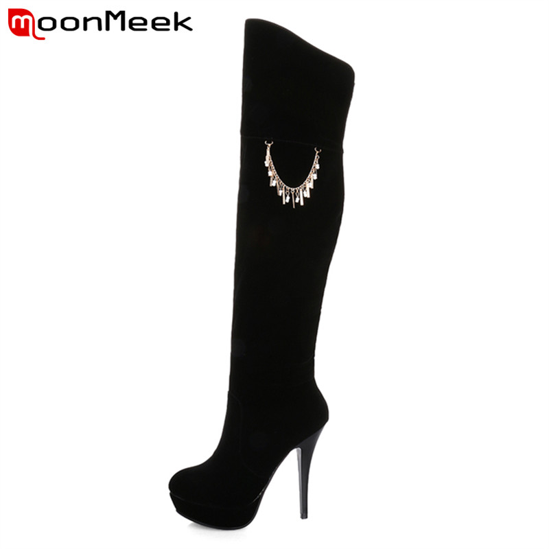 Sexy spike high heels high quality flock over the knee boots in spring autumn hot sale solid colors chains platform women boots<br><br>Aliexpress