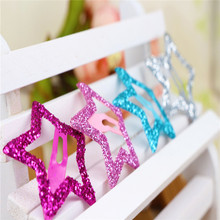 2016 Real 6 Pcs Korean Fashion Hair Clip 3.5cm Hairpin Kids Star Shaped Accessories Glittering Solid Hairpins For Girls Gift