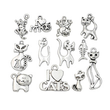 12pcs Mixed Tibetan Silver Plated Cat Charms Pendants for Jewelry Making Bracelet Craft Diy Handmade(China)
