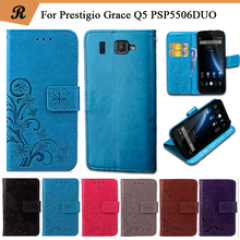 Factory Price Fashion Luxury Flower Patterns Flip PU Leather Case for Prestigio Grace Q5 PSP5506 Duo with strap