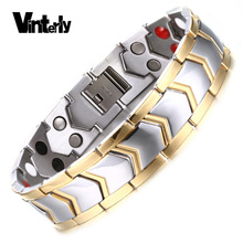 Vinterly Healing Energy Gold Color Stainless Steel Bracelet Double Row Germanium Negative Ion Magnetic Bracelets for Men